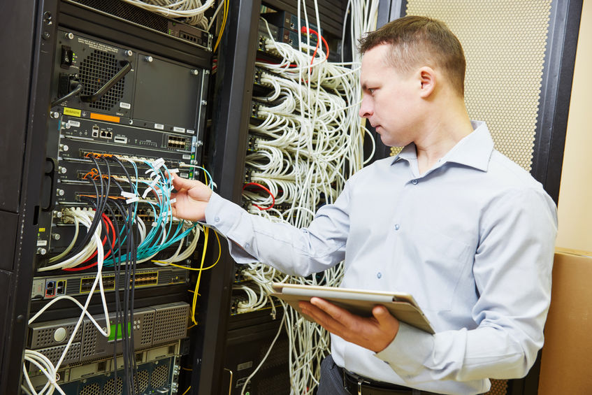 50886075 - networking service. network engineer administrator checking server hardware equipment of data center